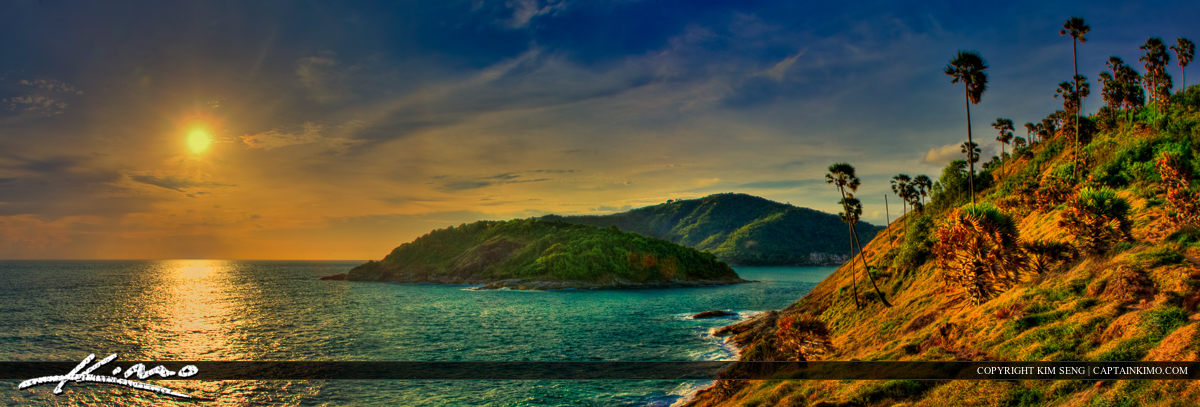 HDR Panorama from Promthep Cape Viewpoint at Sunset Phuket Thailand