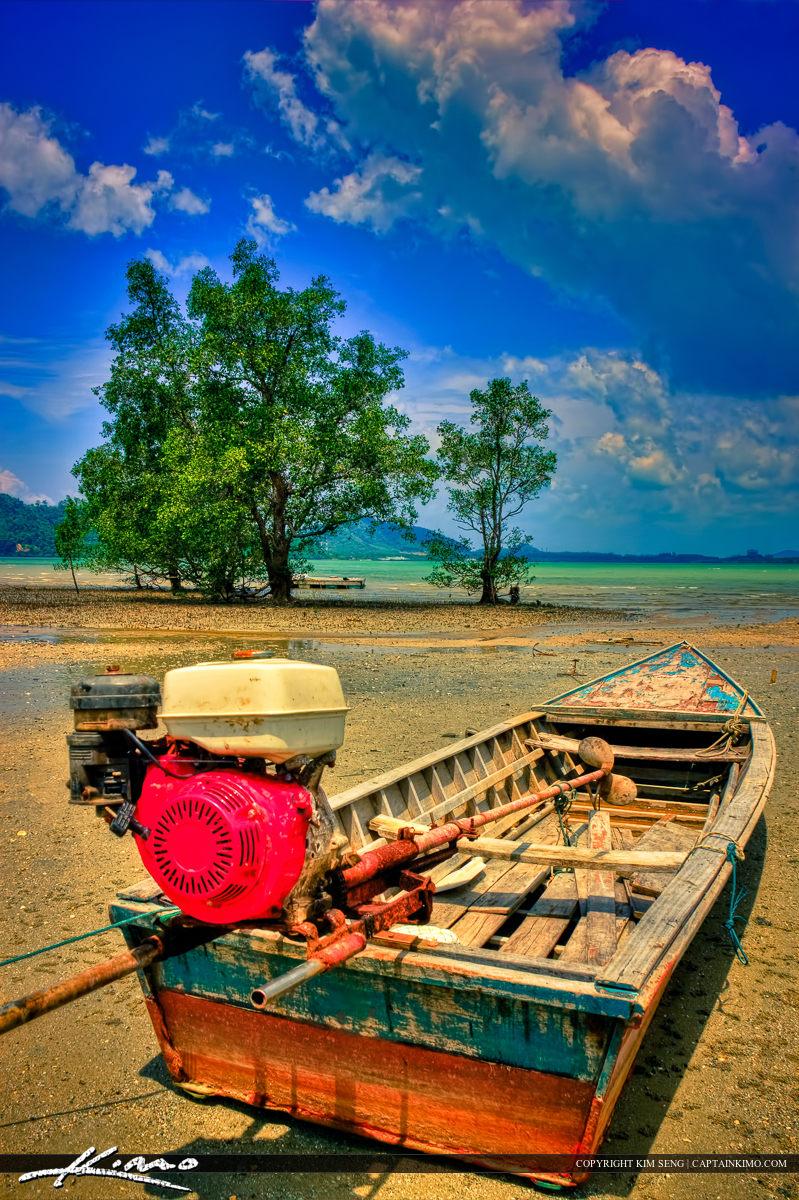 Small Thai Boat at Coconut Island Phuket Thailand
