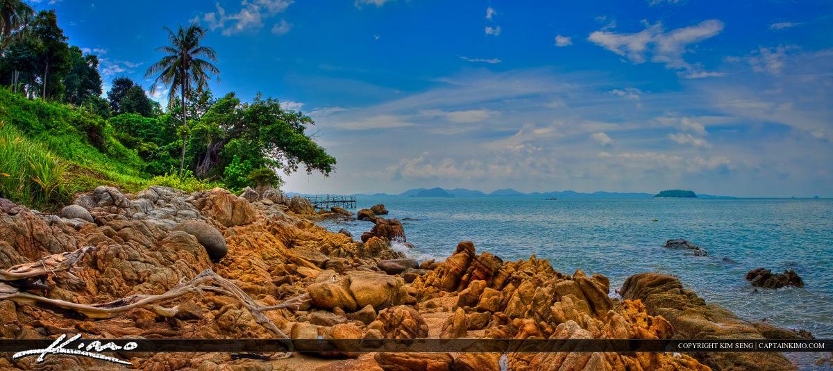 Coconut Island Panorama from Rocky Coast Phuket Thailand