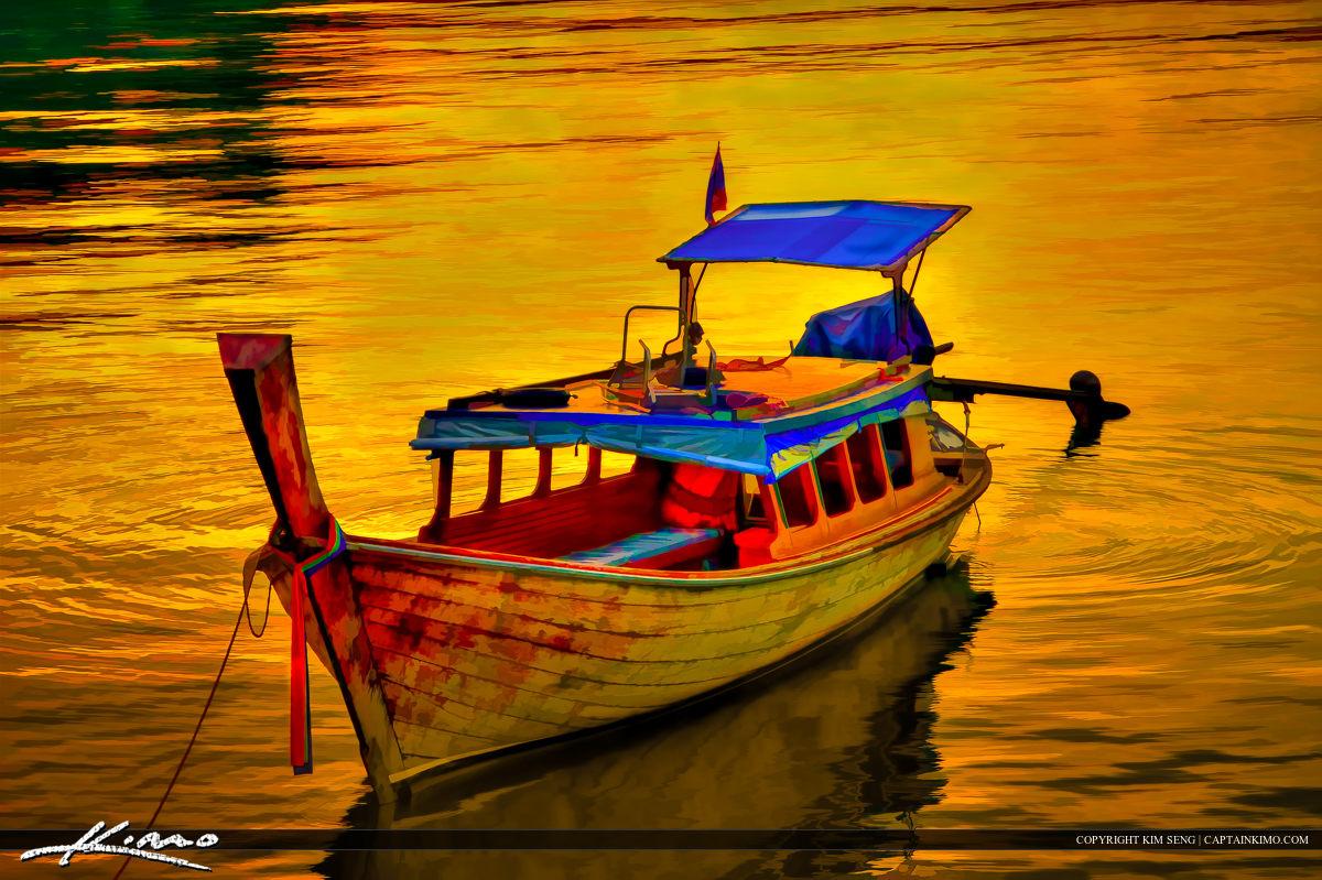 Thai Tourist Boat at Sunset Phuket Thailand