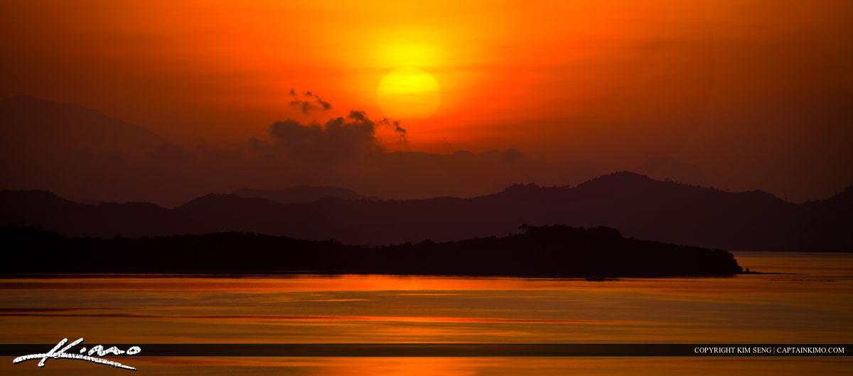 Golden Sunrise Over Phuket Mountains Thainland