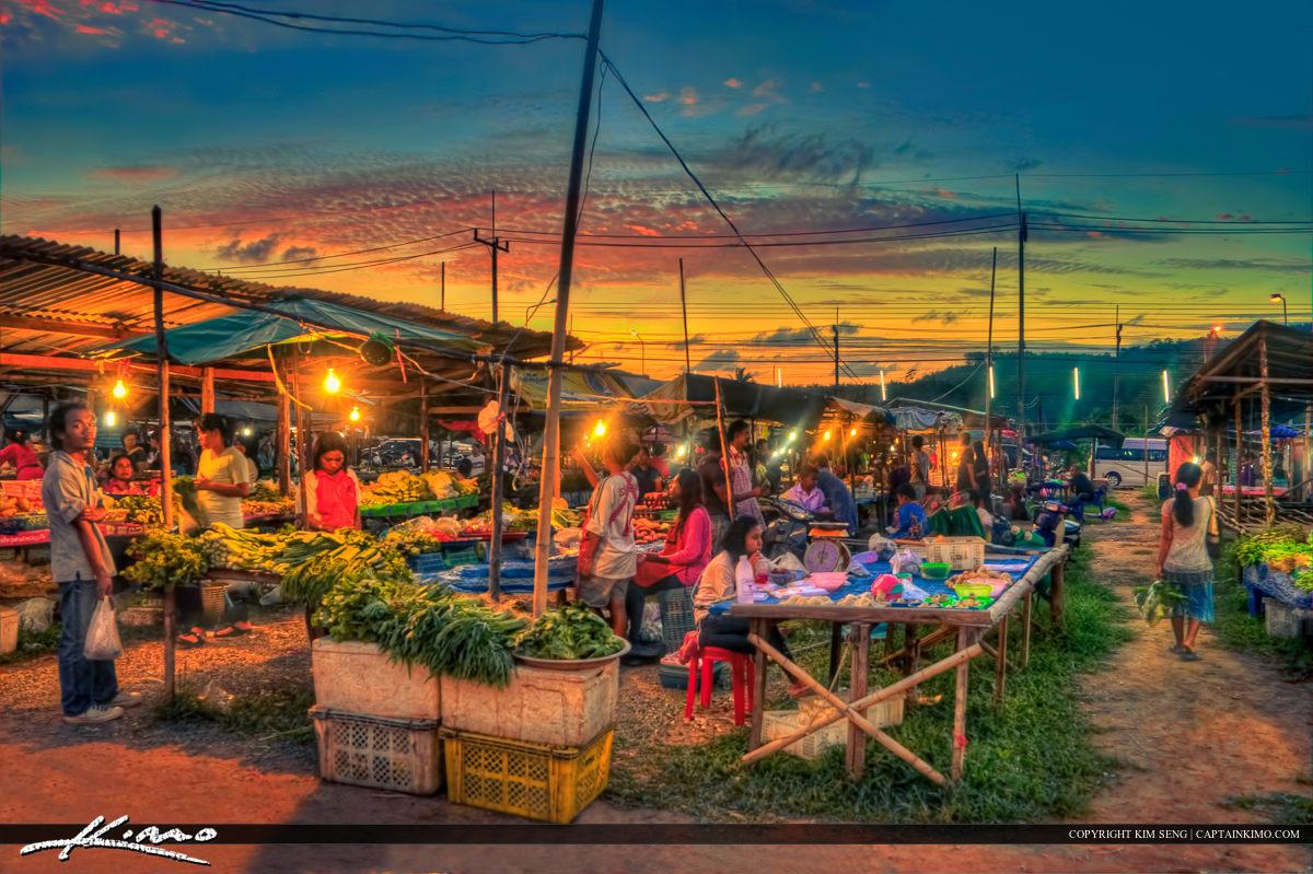 Phuket Thailand Local Market at Sunset