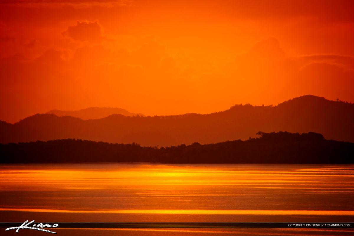 Mountain View Sunrise from Phuket Thailand