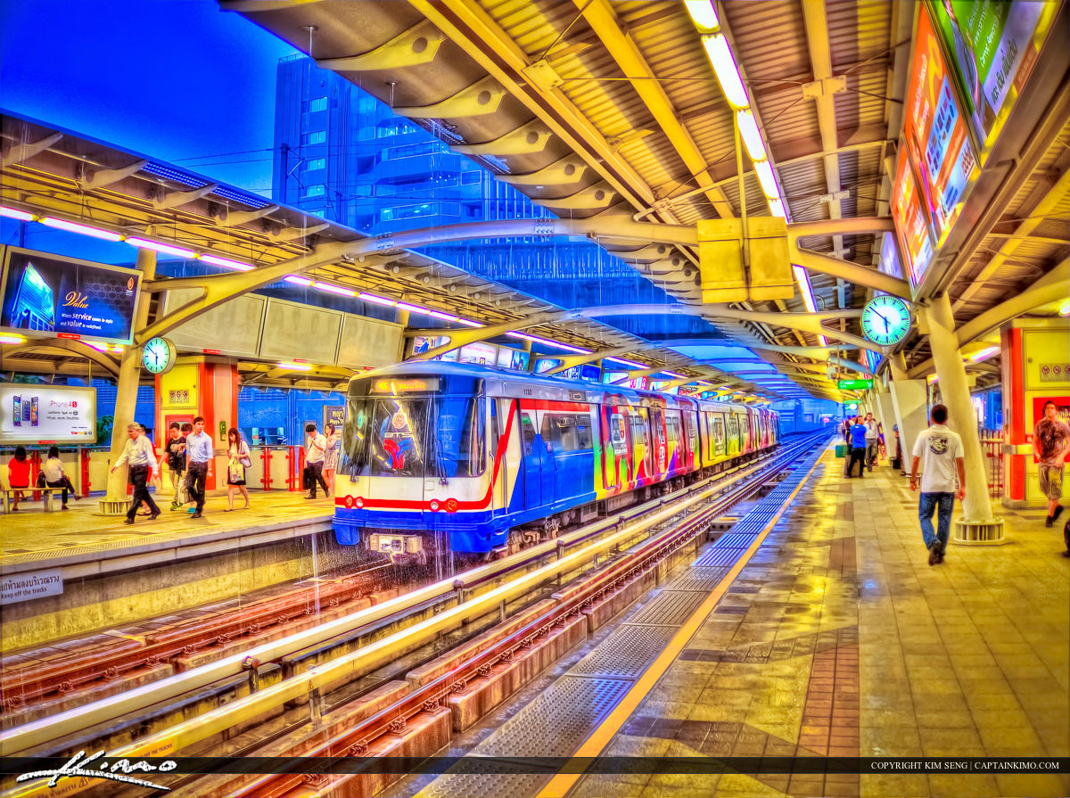 Skyrail Train Station Downtown Bangkok Thailand