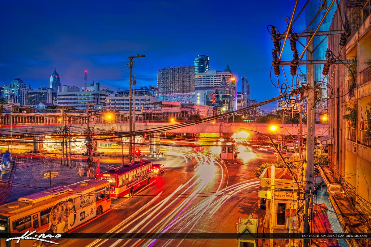 Bangkok Thailand Downtown City Traffic Lights at Night