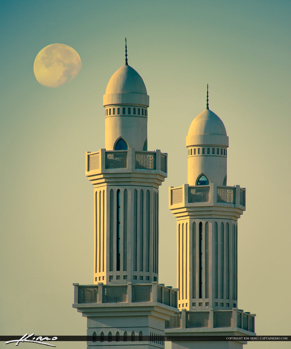 bahrain mosque twin architecture moon in sky