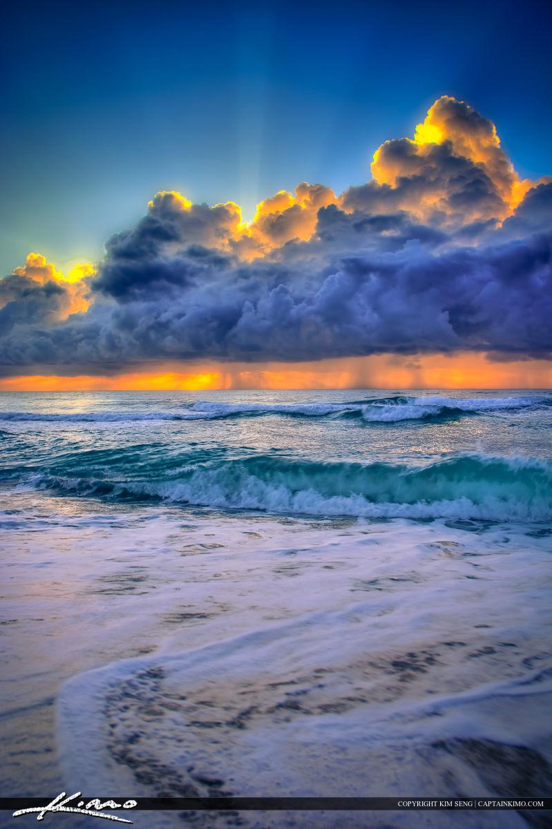 Storm Brewing Over Atlantic Ocean During Sunrise at Beach