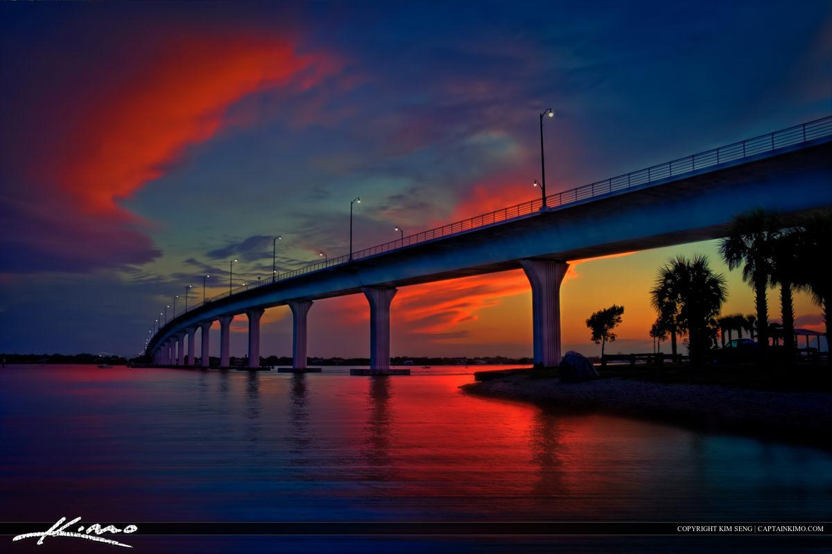 Stuart Bridge Colorful Sunset at Okeechobee Waterwater