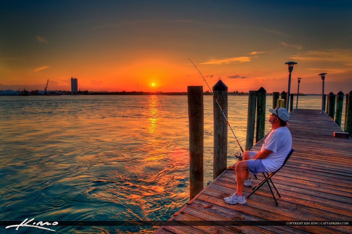Fishing On a Pier at Fort Pierce During Sunset