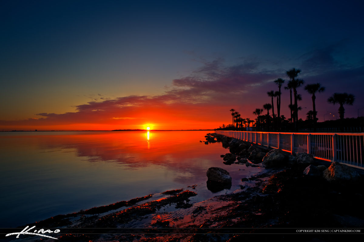 Sunrise at Sunshine Skyway Bridge Rest Area Tampa Bay Florida