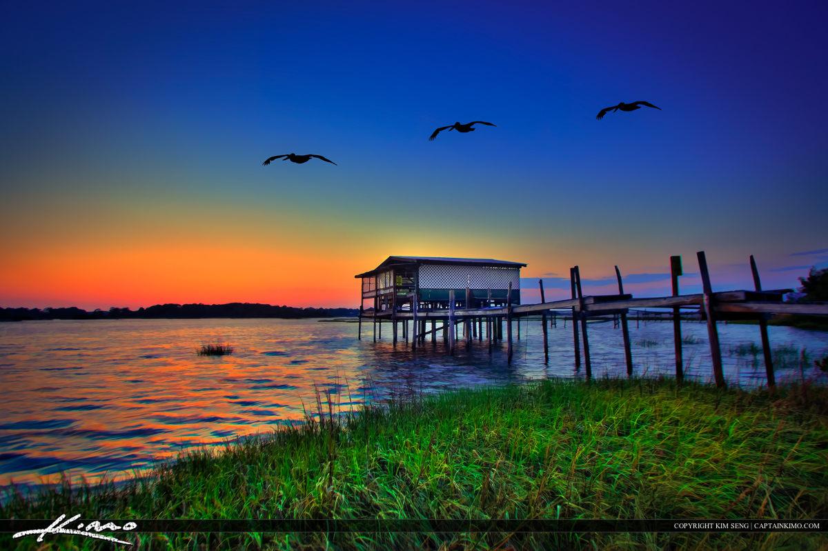 Old Stilt House at Cedar Key Bayou Durign Sunset