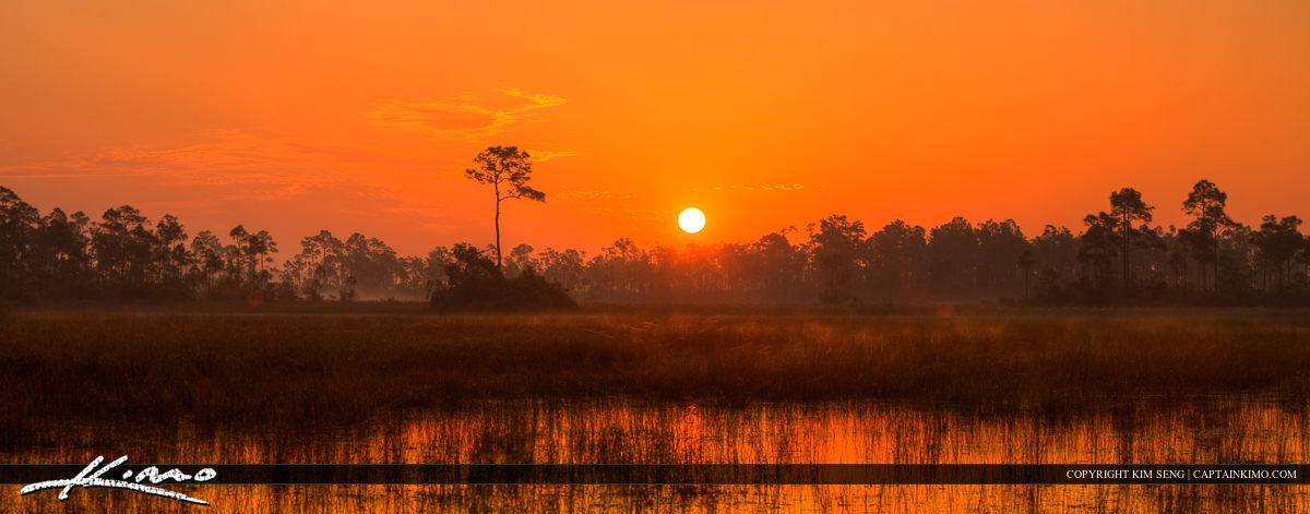 Hungryland Wetlands During Sunrise at Jupiter Farms Florida