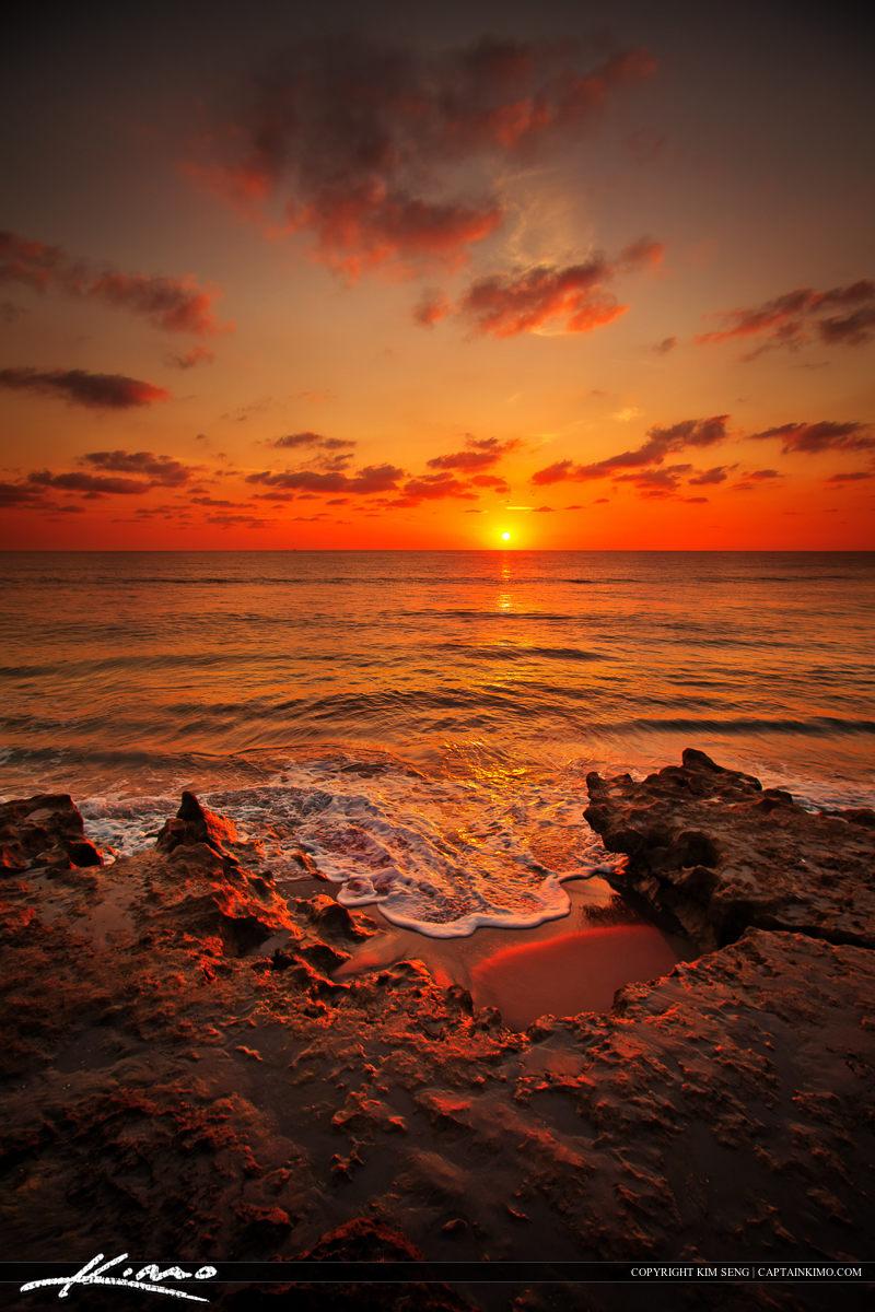 Warm Sunrise at Beach Over Atlantic Ocean