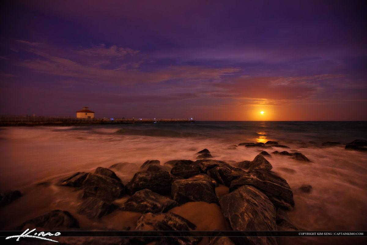 Moon Rise Over Boynton Beach Ocean Inlet