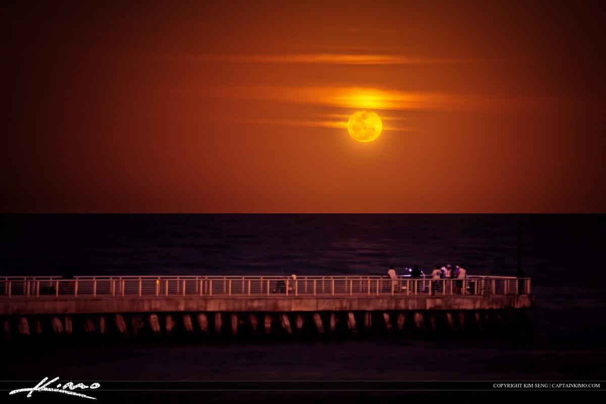 Full Moon Rise at Boynton Beach Inlet Jetty Pier
