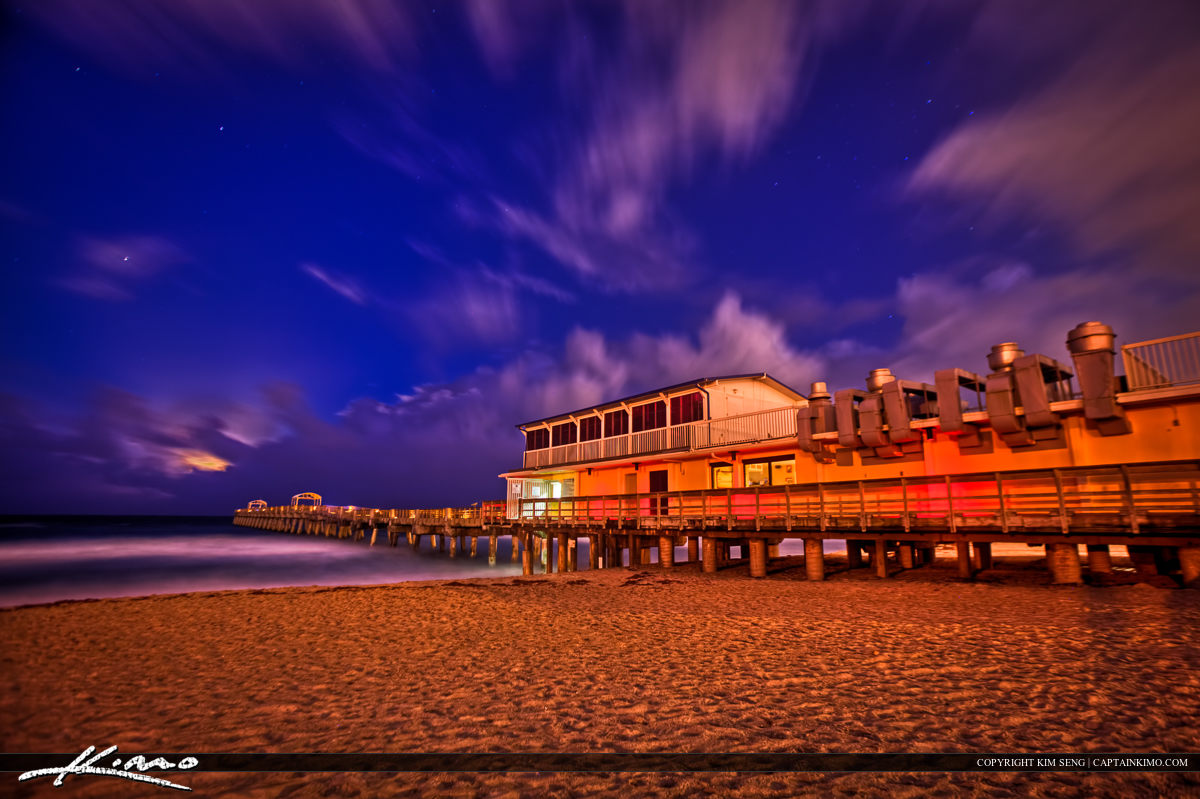 Lake Worth Pier Moon Rise During Storm