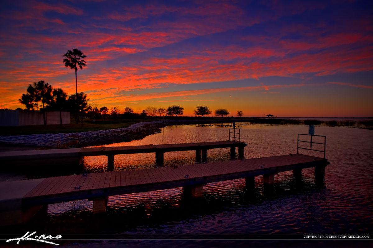 East Lake Tohopekaliga Marina Boat Ramp Dock at Sunset