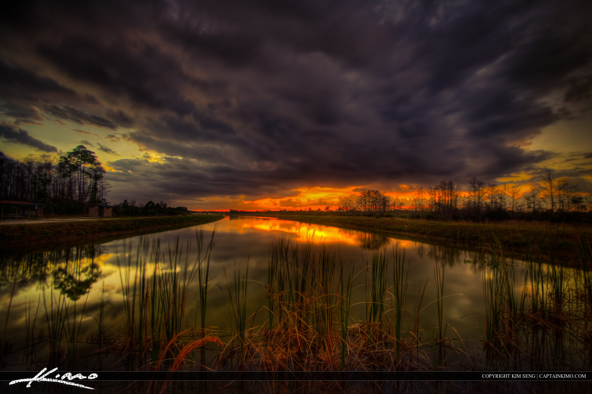 Sunset at Hungryland Slough WMA Wetland Canal