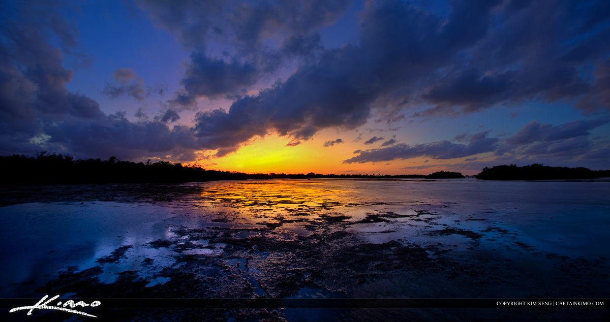 HDR Panorama from Lake Worth Lagoon Sunset Over Munyon Island