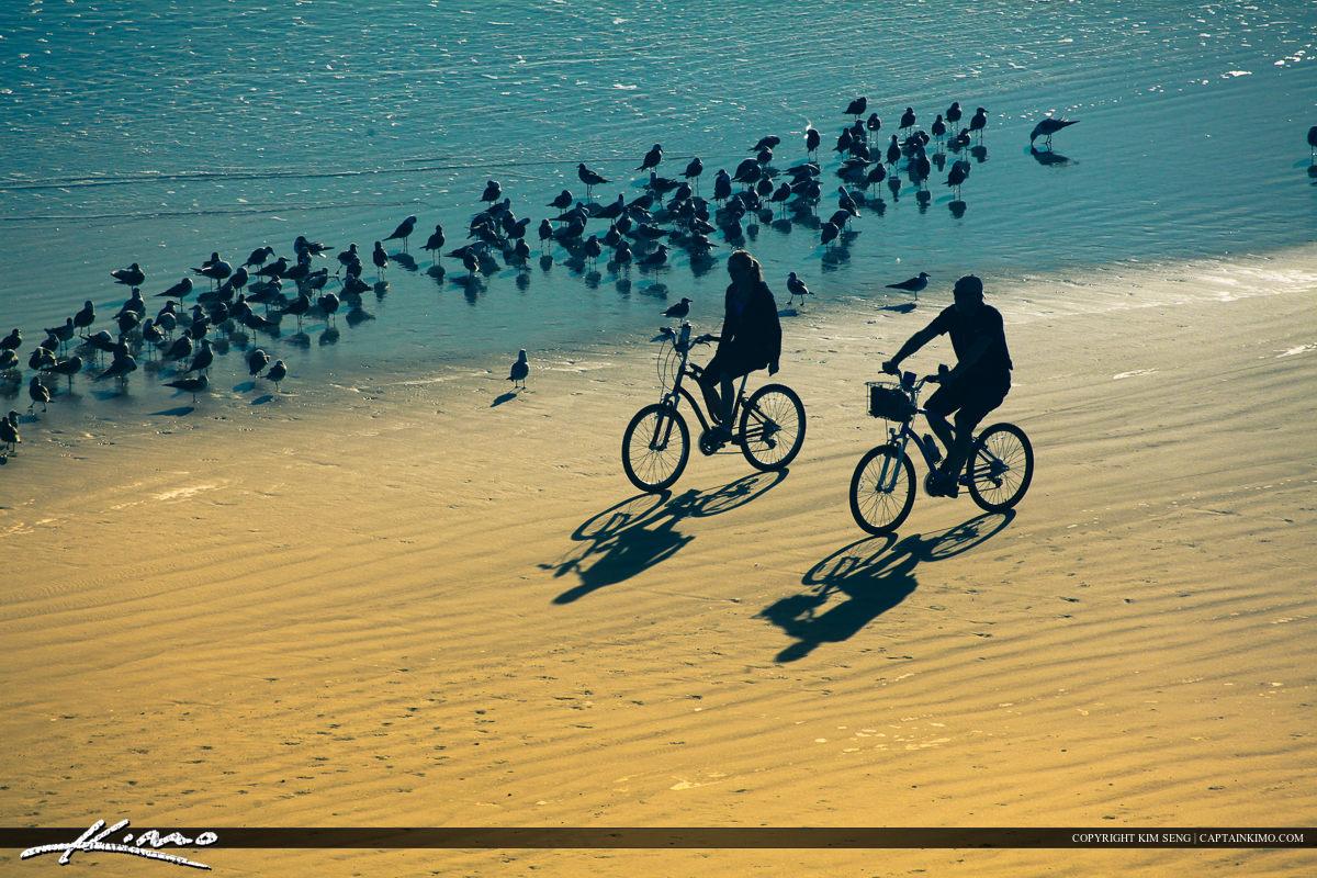 Couples at Daytona Riding Bicycle on Beach