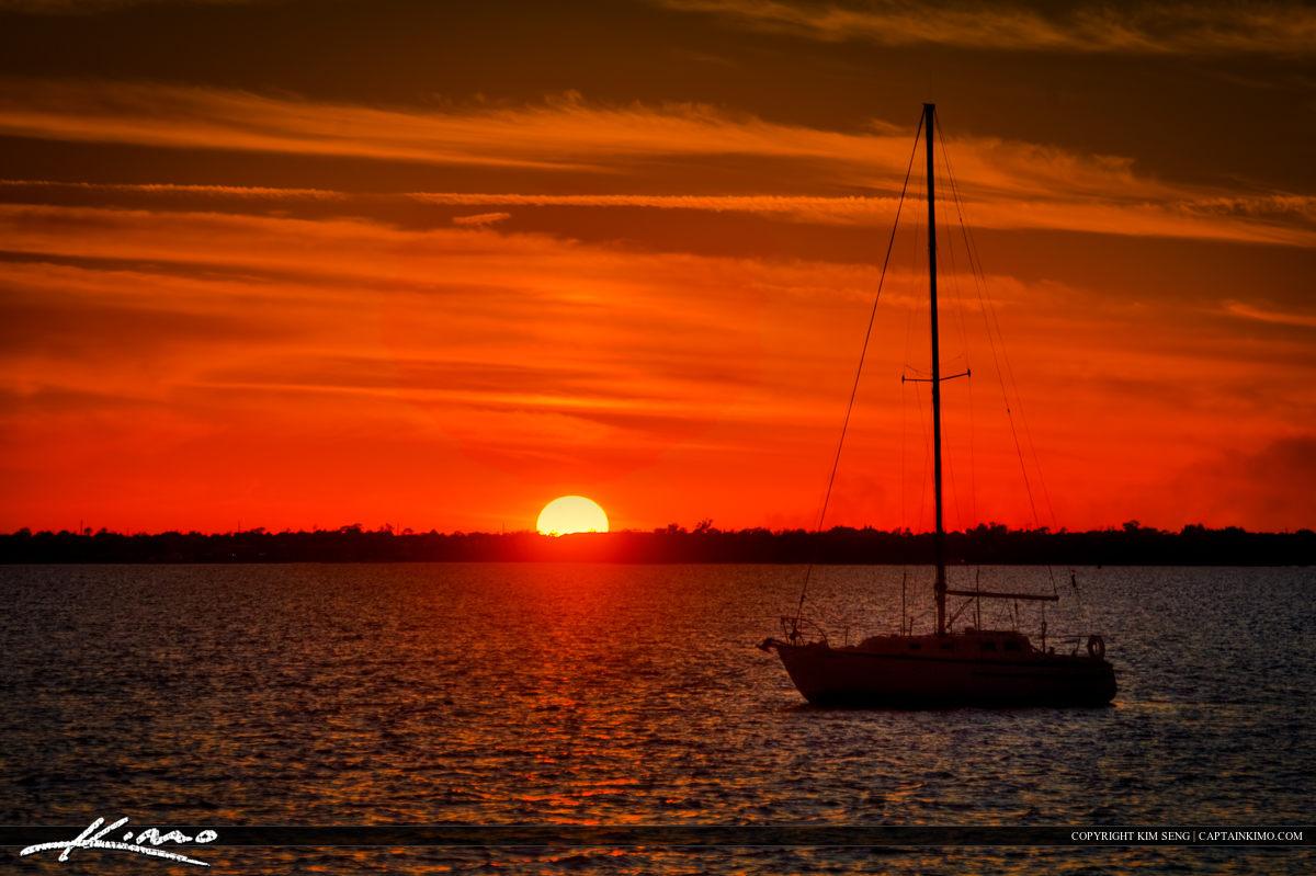 Sailboat Docked at Sebastian Waterway During Sunset