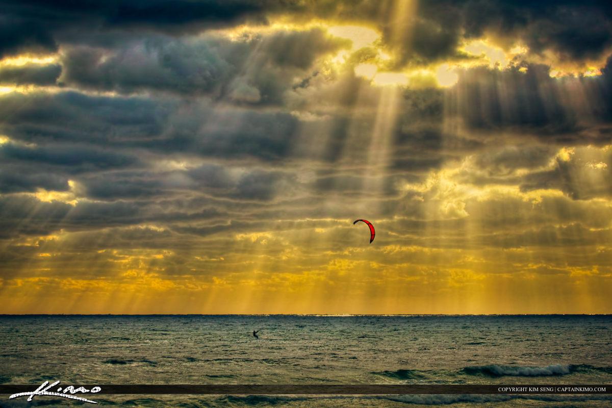 Kite Surfer Surfing Ocean Waves at Pompano Beach Florida
