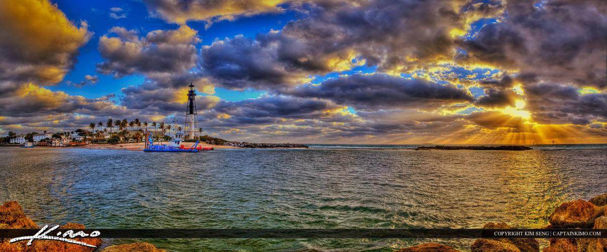 Hillsboro Lighthouse Panorama from Pompano Beach Inlet Florida