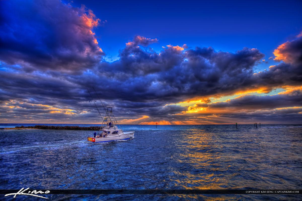 Fishing Boat at Hillsboro Inlet Going to Atlantic Ocean