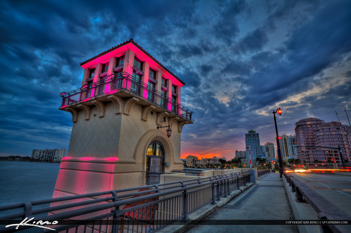 Royal Park Bridge Lookout Tower in West Palm Beach During Sunset
