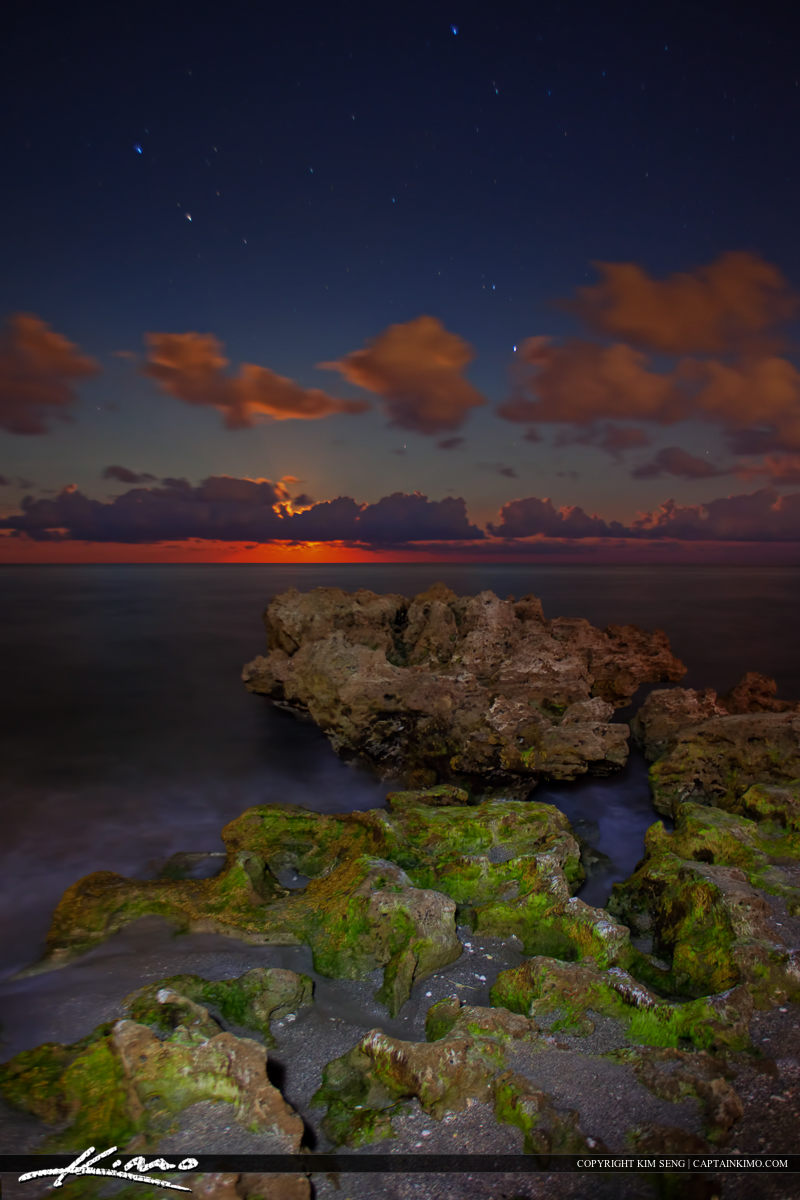 Coral Cove Full Moon Rising Over Ocean Rocks at Night