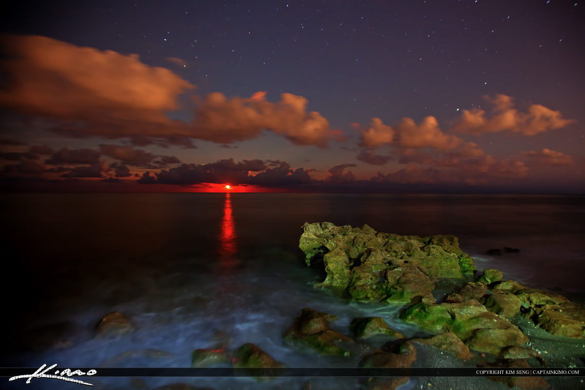 Moon Rise Over Coral Cove Park at Night Under Stars