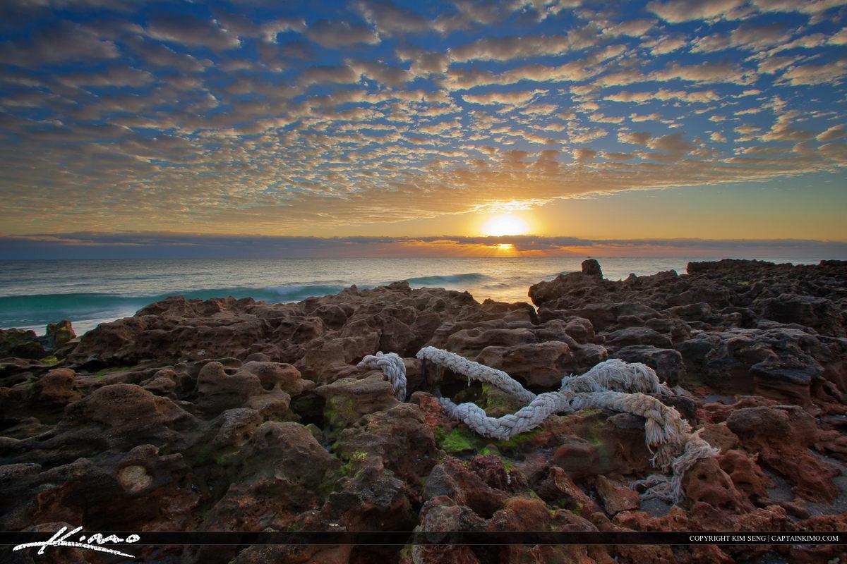 Sunrise Over Coral Cove Rocks at Beach Jupiter Island