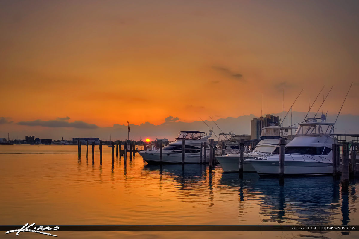 Sailfish Marina Yacht During Sunset from Palm Beach Shores