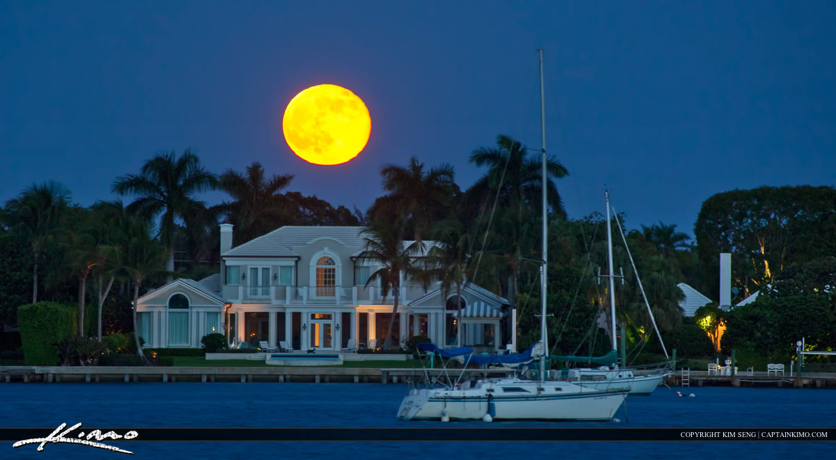 Full Moon Rising Over House and Sail Boat at Singer Island