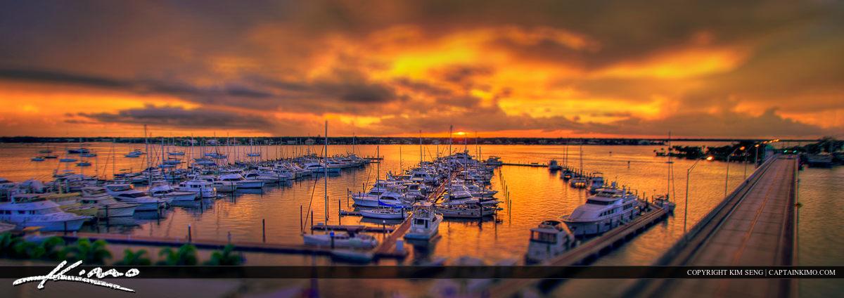 Stuart Yacht Marina Sunset from Roosevelt Bridge