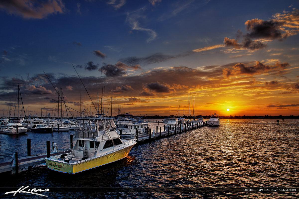Sunset Over Stuart Marina Florida