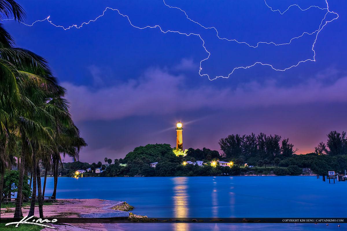Jupiter Inle Lighthouse Lighting Storm from Dubois Park