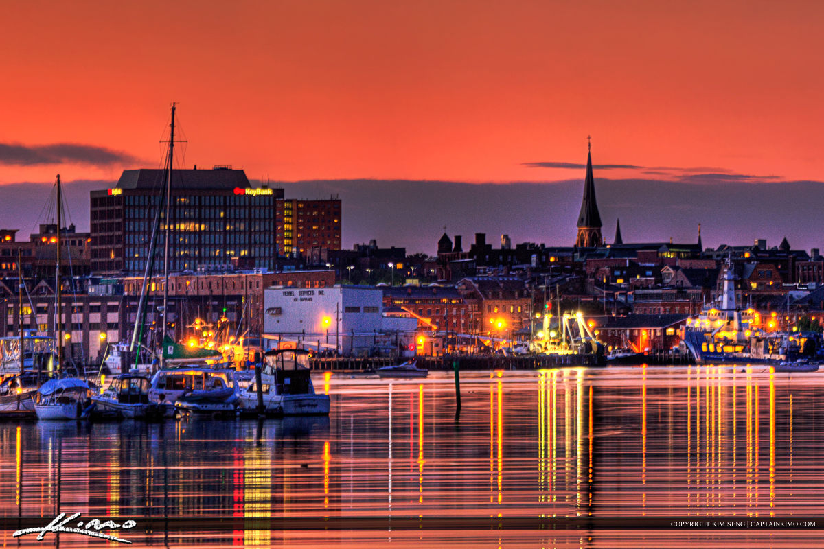 Portland Maine Downtown City Lights at Sunset Over Marina