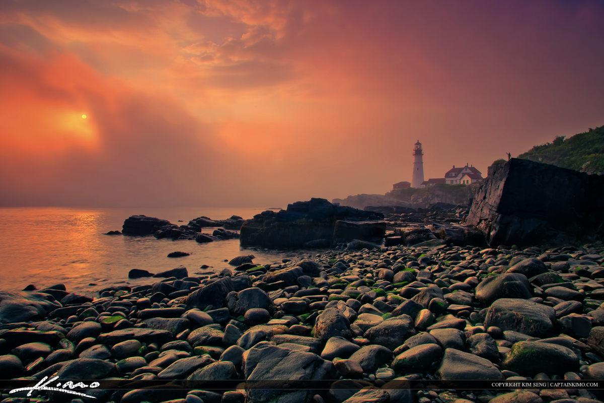 Beautiful Foggy Morning at Portland Maine Lighthouse Cape Elizabeth