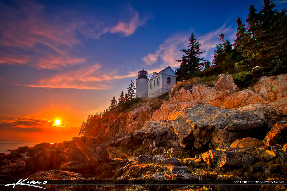 Sunset at Bass Harbor Lighthouse Acadia National Park Maine