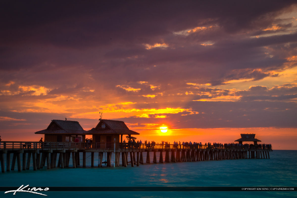 Sunset at Naples Pier Over the Gulf of Mexico