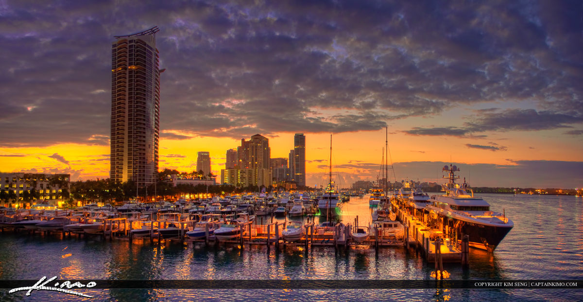 Hotels at South Beach Miami Marina During Sunrise
