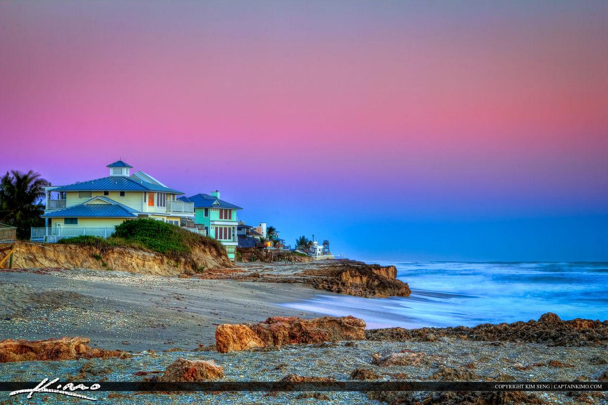 Houses Along the Beach on Hutchinson Island Next to Bathtub Beach