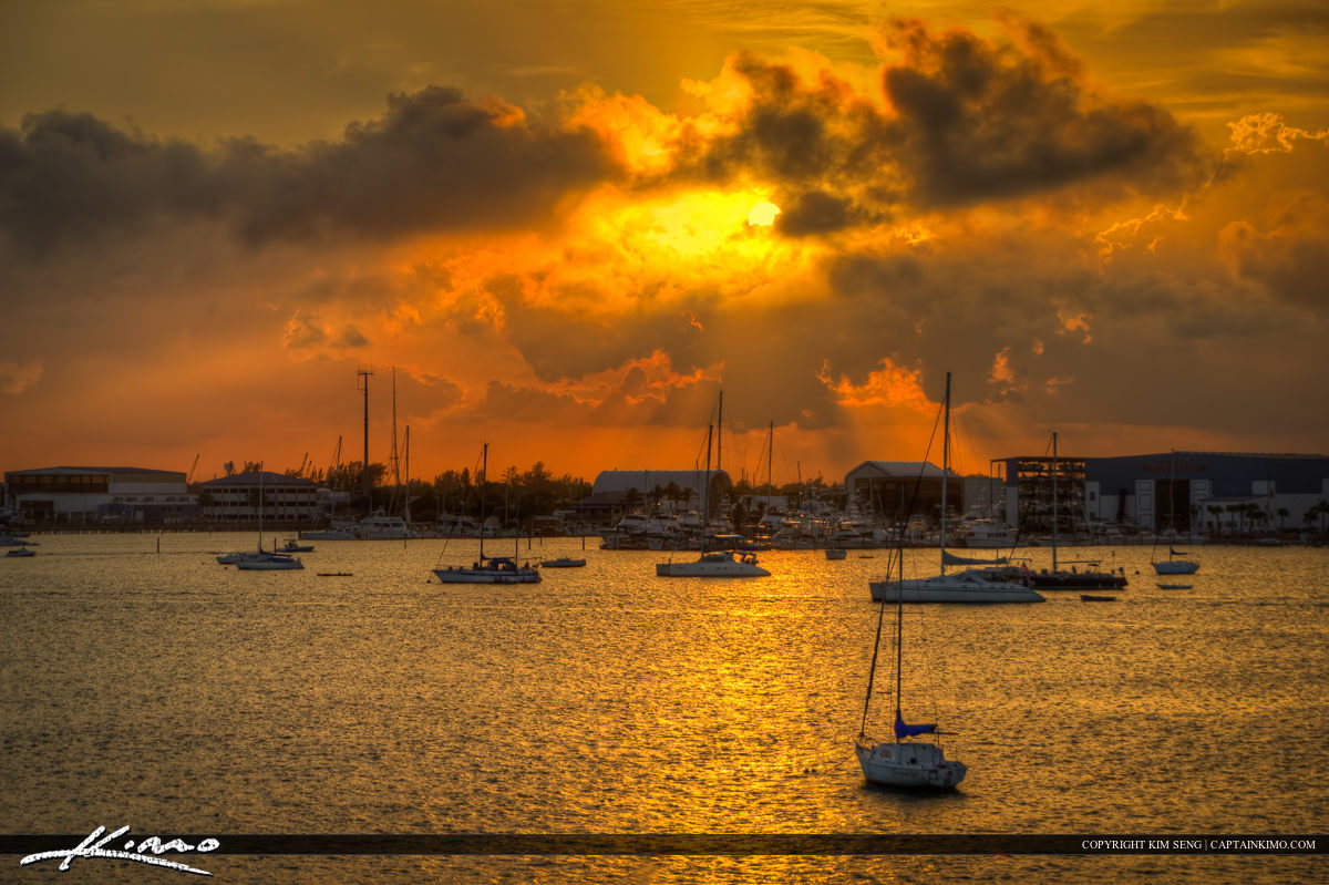 Sunset Over Riviera Beach Marina with Sailbots and Yachts
