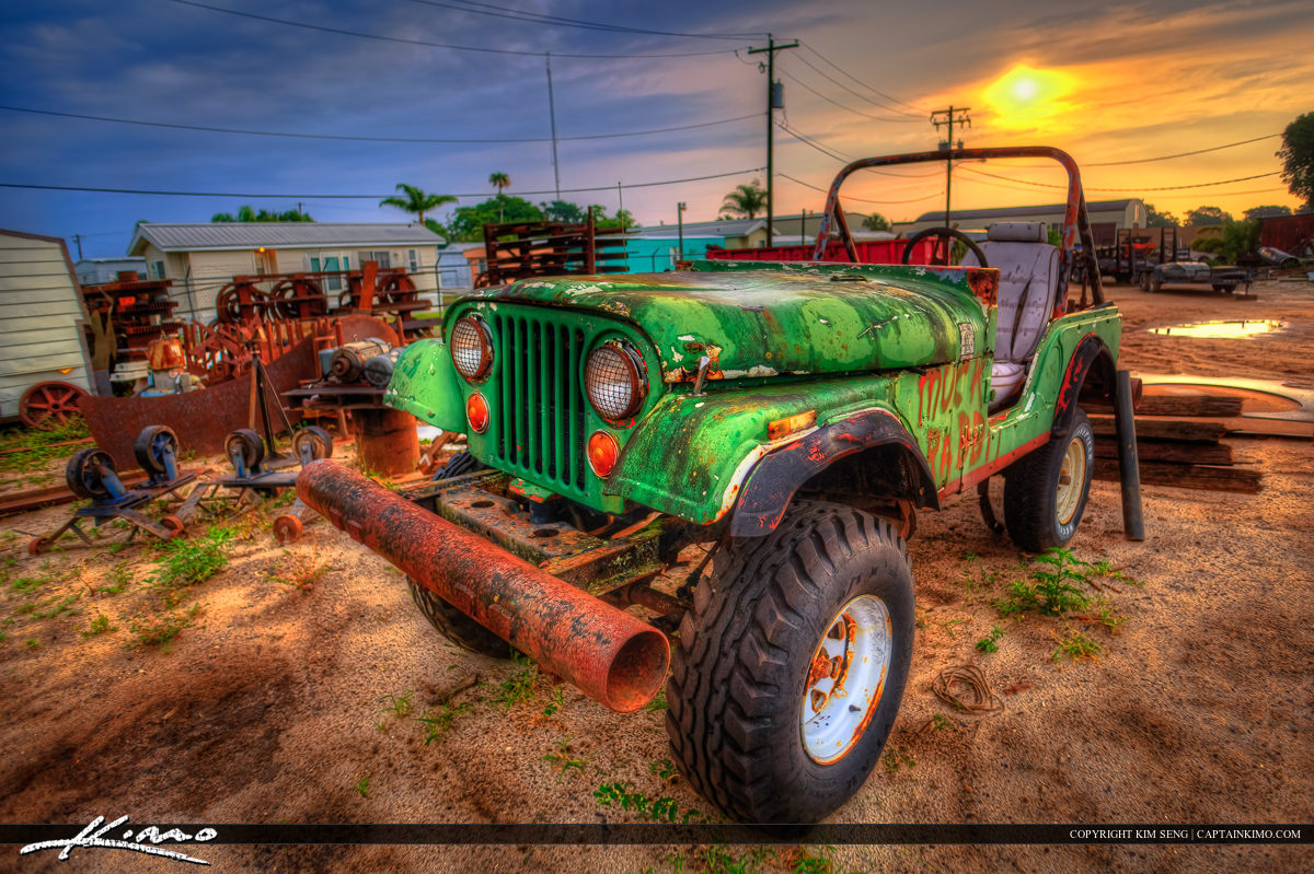 Old Rusty Green Jeep at Clewiston Florida