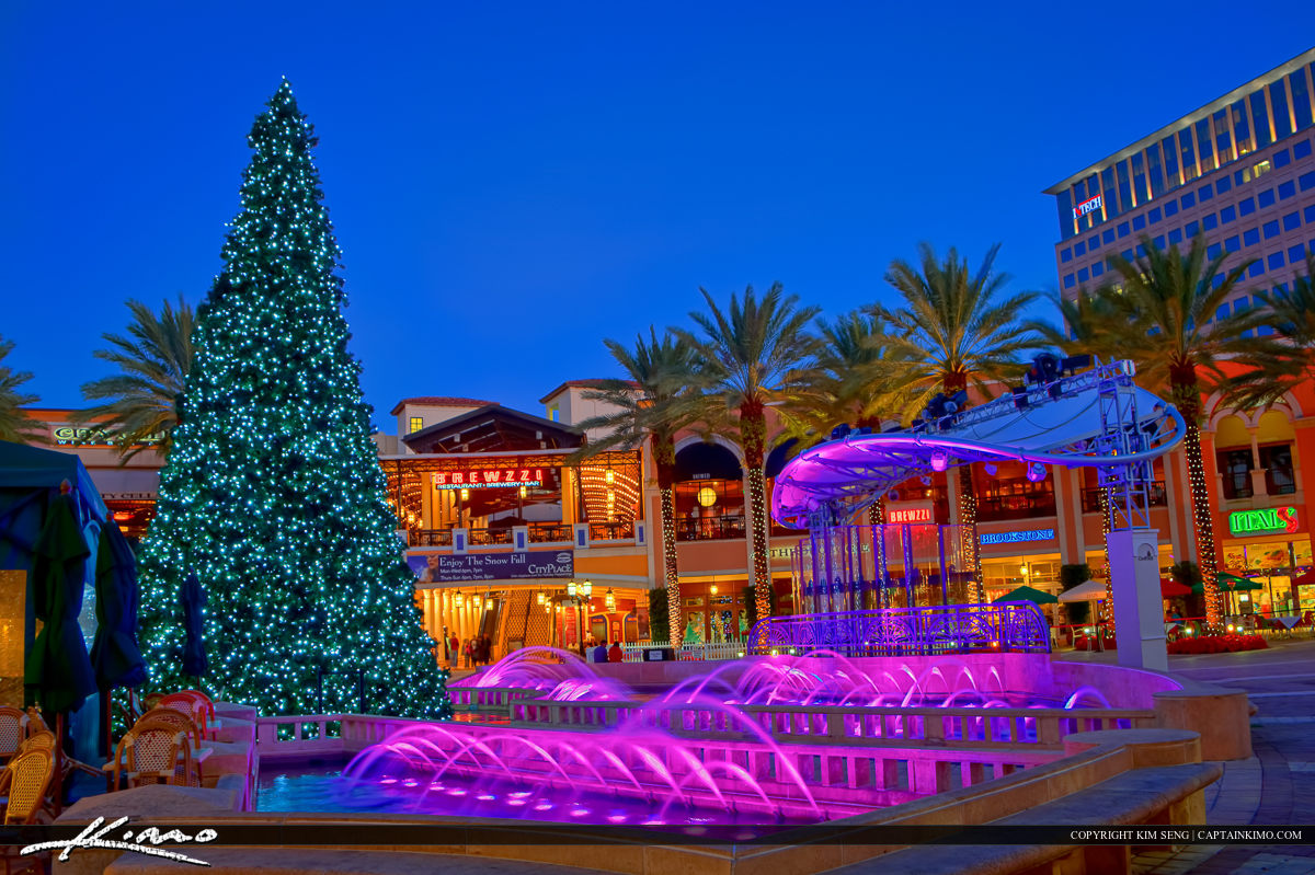 Christmas Tree at Cityplace Water Fountain Downtown WPB