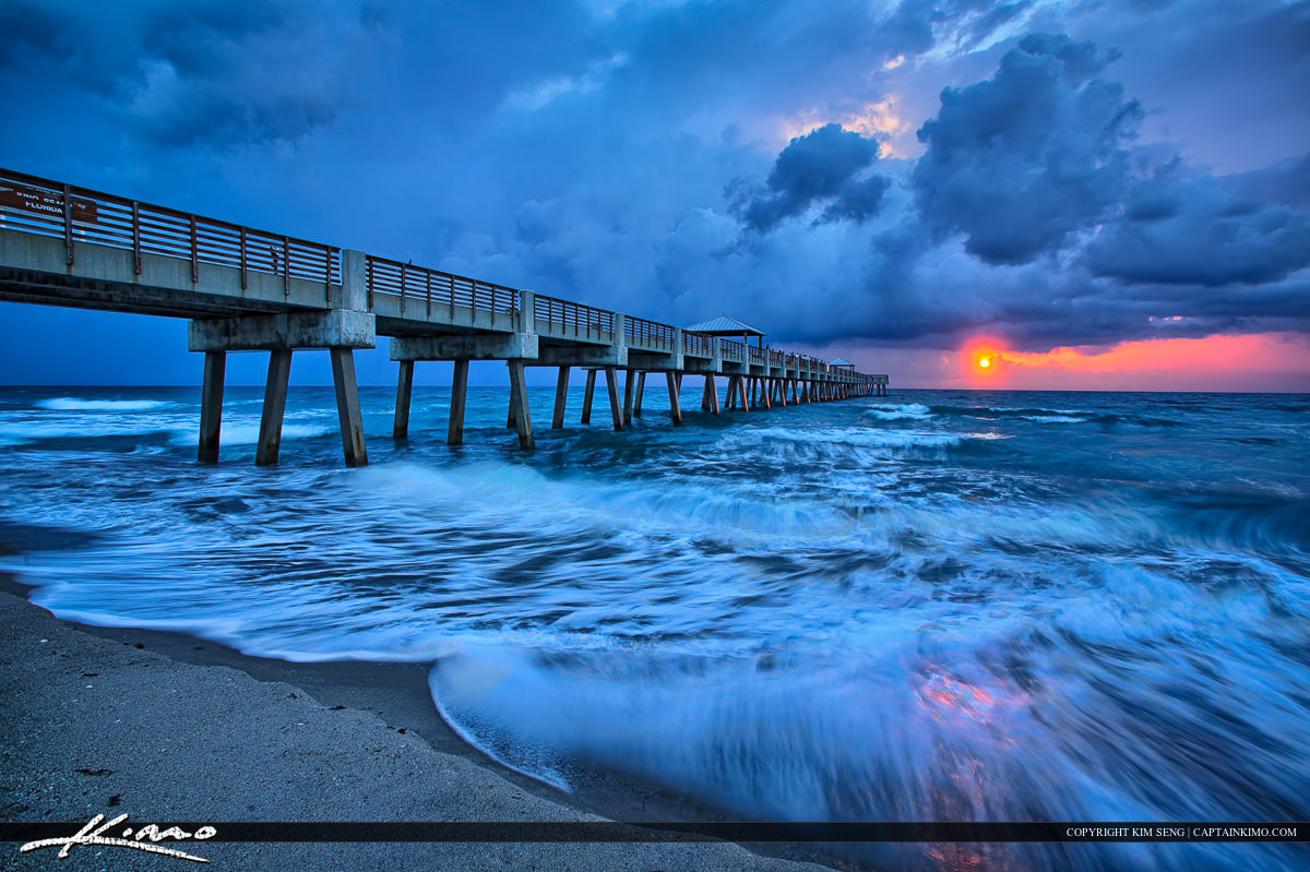 Juno Beach Pier Early Morning Cool Storm and Waves