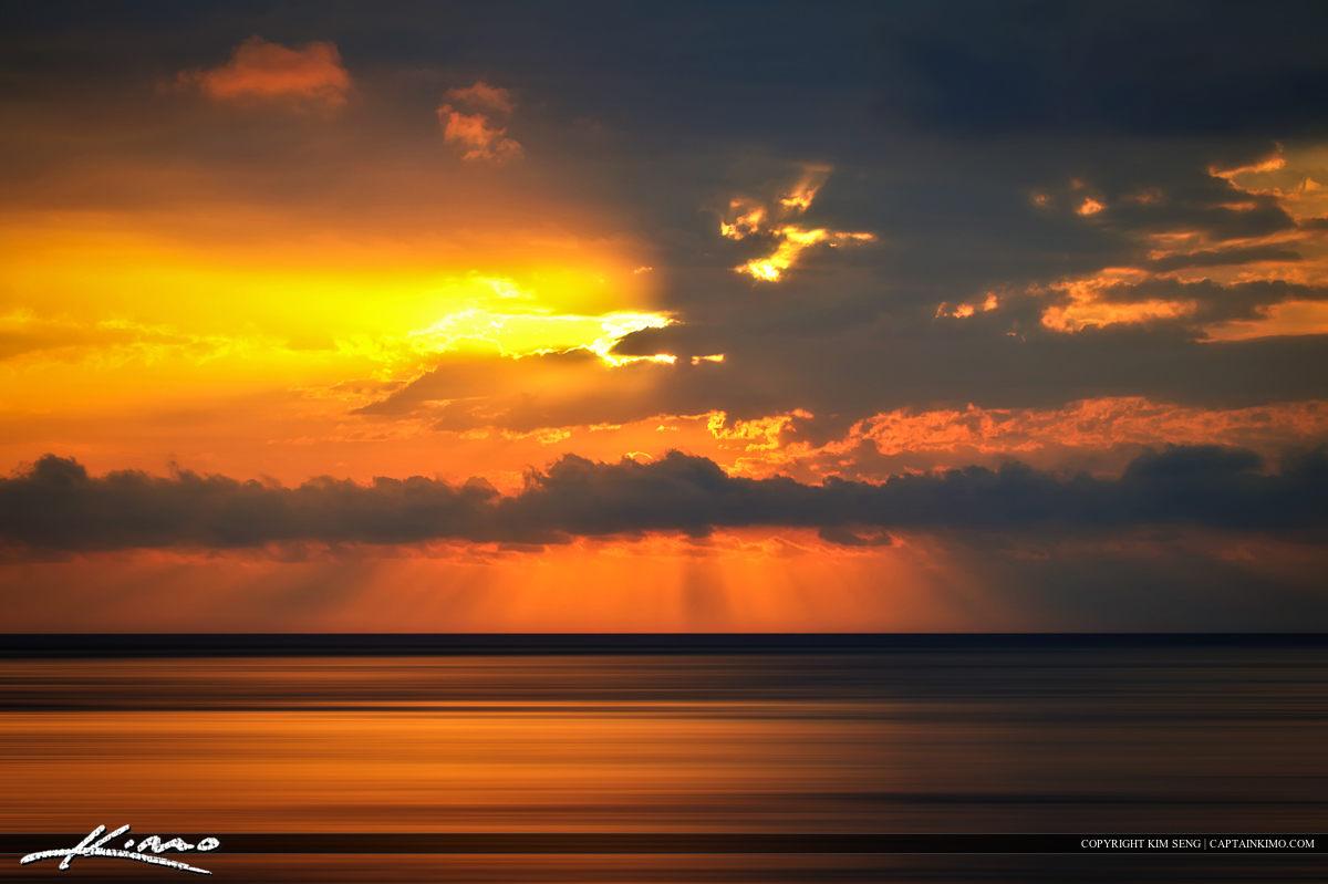 Golden Glow Over Atlantic Ocean During Sunrise