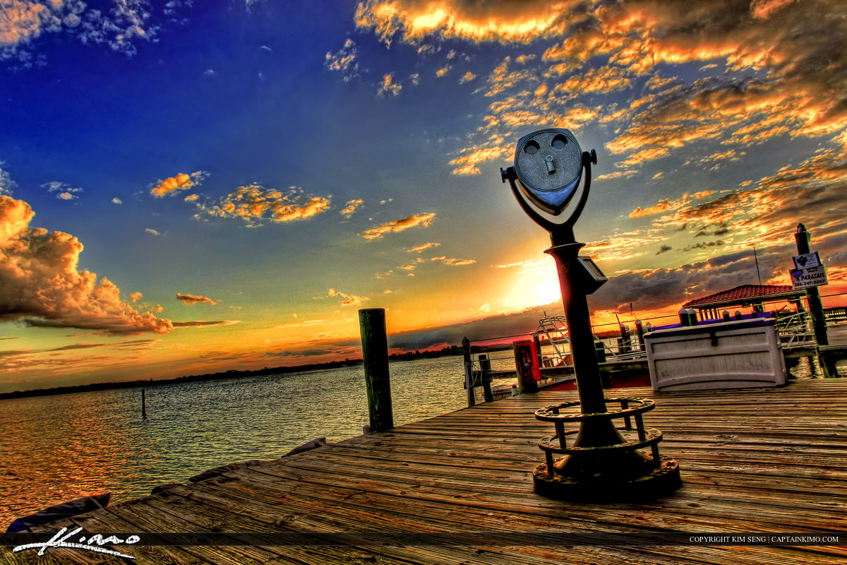 Sunset at the Pounce Inlet Marina in Port Orange Florida