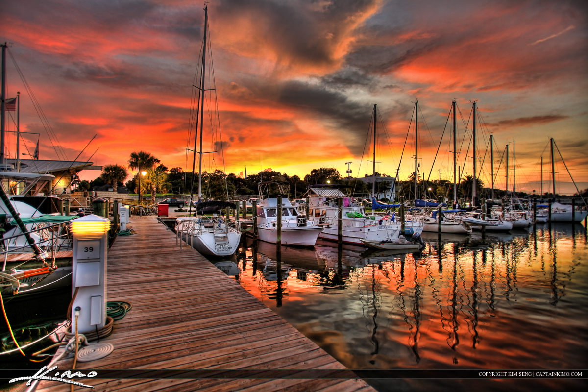 Sunset at Dock from New Smyrna Marina Florida